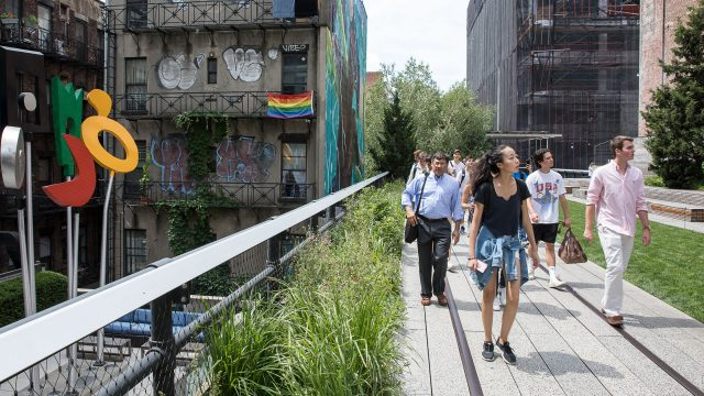 Real Estate NYC students take a tour of the High Line.