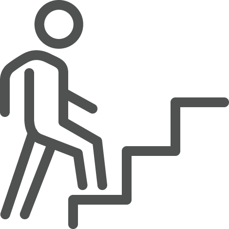 Figure walking up stairs icon